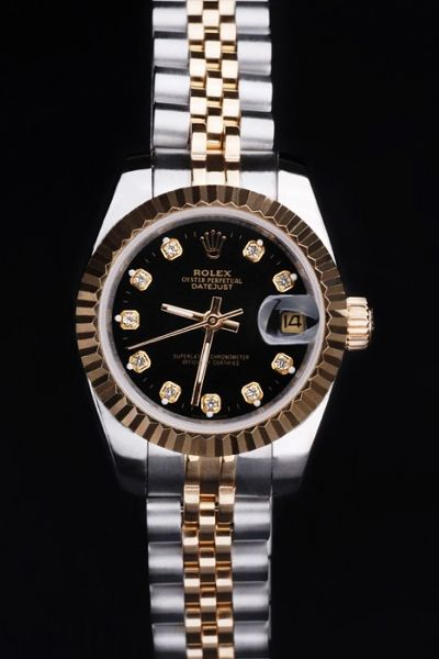 Best Value Imitated Rolex Datejust Gold-Plated Fluted Bezel Diamonds Scale Two-Tone Stainless Steel Bracelet Watch Hot Selling