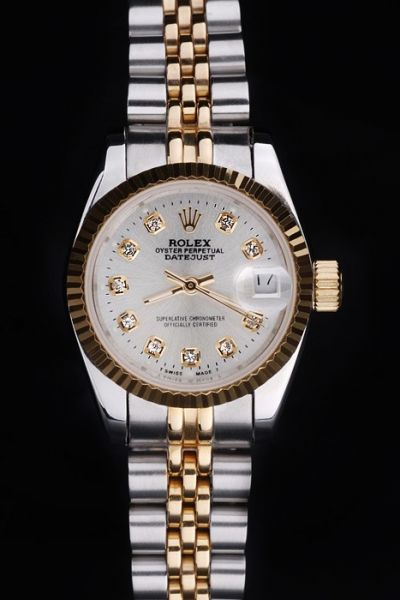 Most Fashion Rolex Datejust Diamonds Dial Yellow Gold Bezel Two-tone Bracelet Unisex Date Watch Malaysia Price