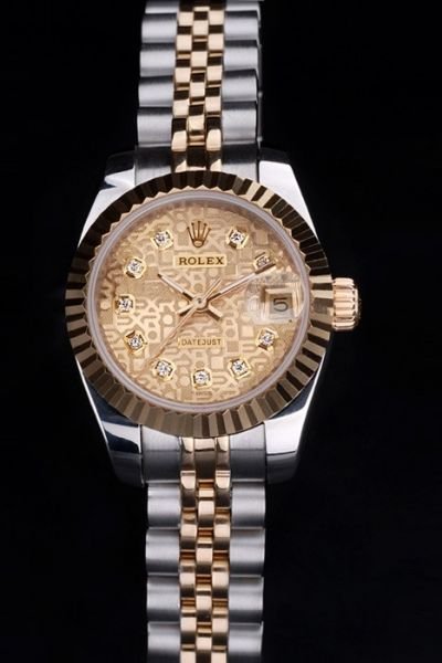 Rolex Datejust Gold Plated Fluted Bezel Pattern Dial Diamond Marker Two-tone Stainless Steel Bracelet Lady Watch
