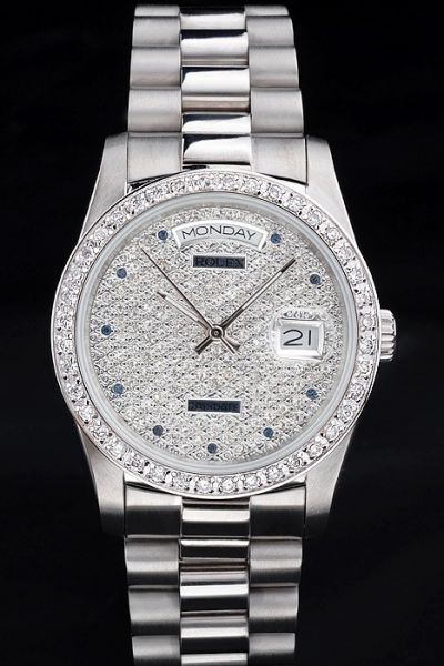 36mm Rolex Day-date Full-set Diamond Face&Bezel  Stick Hand  Silver Steel Bracelet Rep Watch Ref.118206