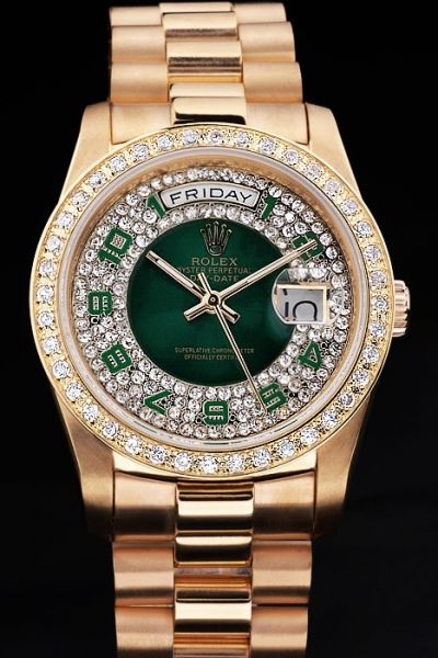 Rolex Day-date Gold SS Unisex Diamonds-pave Bezel Green Arabic Scale Luxury Watch