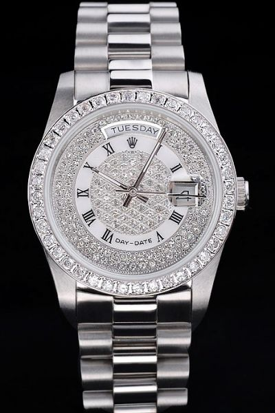Rolex Day-date Silver SS Case 39mm Diamonds Bezel/Dial Roman Numeral Markers Chic Unisex Watch Ref.18946MTPM