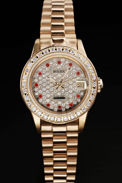 Rolex Datejust Pearlmaster Diamonds Bezel/Dial Red Diamonds Scale Yellow Gold Plated Bracelet Watch For Lady