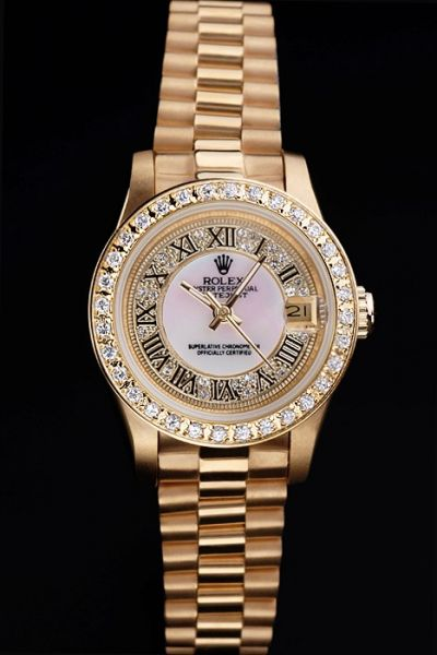 Rolex Lady Datejust 34mm Diamond-stud Bezel&Dial Black Roman Markers Yellow Gold  Watch 2019