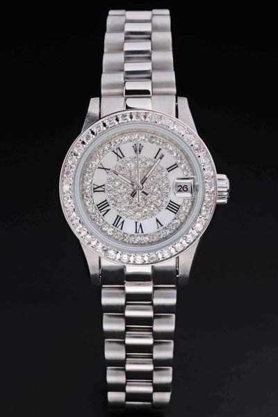 Girls' Rolex Datejust Steel Wristband Diamond-pave Bezel&face Roman Numeral Party Watch