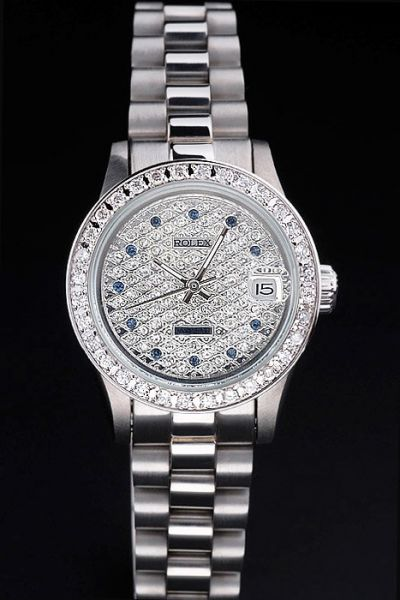 Women Rolex Datejust Pearlmaster Diamonds Bezel/Dial Blue Diamonds Scale White Gold Plated Bracelet Watch Ref.81299
