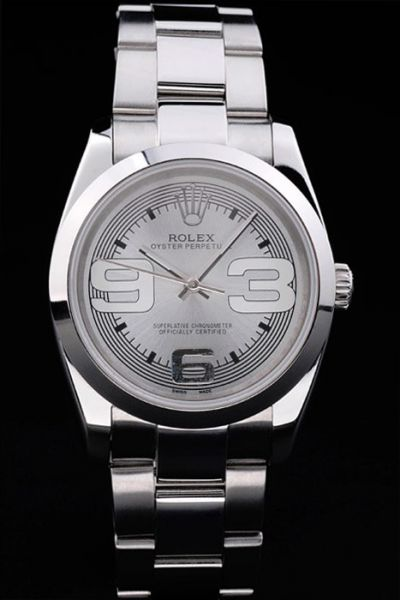 Rolex Oyster Perpetual Grey Concentric Circle Dial Oversized Arabic Scale 26mm Stainless Steel Lady Watch 176200-70130