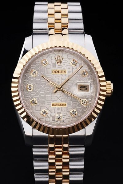Rolex Latest Datejust Two-tone Bracelet Grey Logo Face Rose Gold Diamonds Scale Date Watch For Mens & Womens