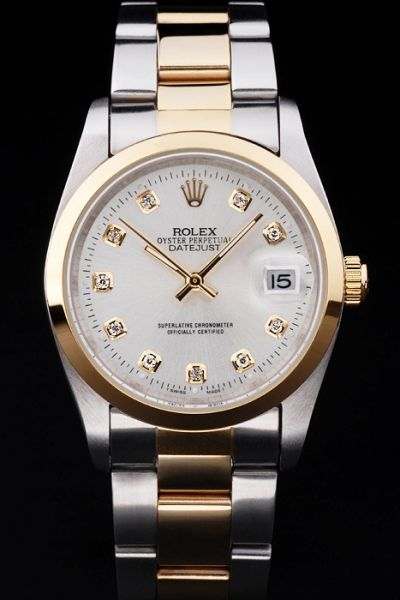 Classic Rolex Datejust White Dial Diamonds Scale Yellow Gold Bezel Two-tone Bracelet Unisex SS Watch