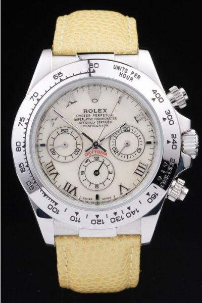 Women's Fashion Rolex Daytona Yellow Leather Strap Roman Scale SS Case & Tachymeter Bezel White Pearl Dial Chronograph Watch