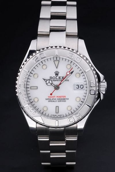 Rolex Yachtmaster White Face SS Bracelet & Case Oversized Date Window Diver's Bezel Guy Auto Watch Ref.268622