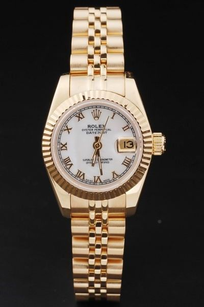 Best Rolex Datejust Oyster Perpetual White Pearl Dial Roman Marker All Yellow Swiss Date Watch For Womens