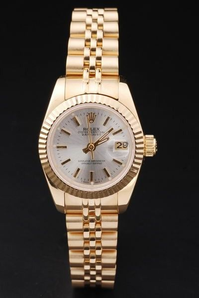 Imitation Rolex Datejust Oyster Perpetual WSO Baton Marker White Face Womens Yellow Gold Swiss Date Watch
