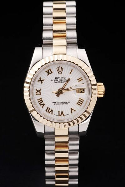 Swiss Rolex Datejust Oyster Perpetual Gold Roman Marker/Fluted Bezel White Dial Ladies 2-Tone  Date Watch Ref.69173