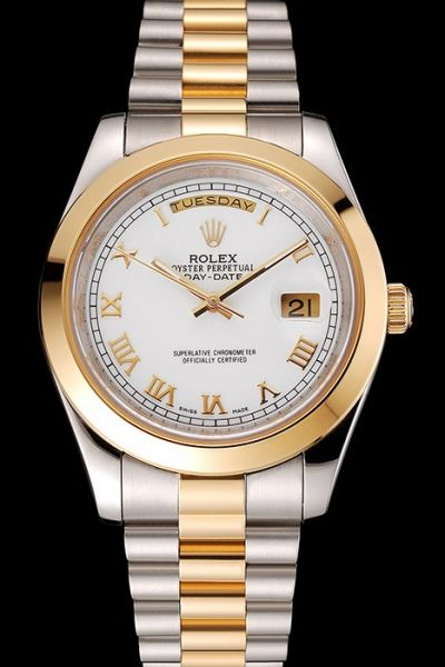 Unisex Rolex Day-date Gold Roman Scale White Dial Two-tone Steel Bracelet  Appointment Watch