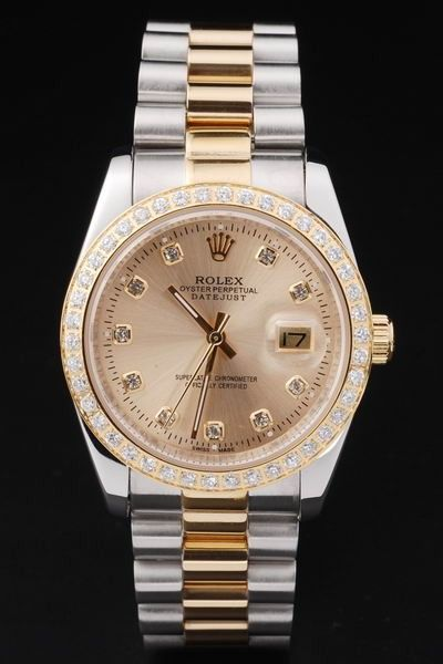 Luxury Swiss Rolex Datejust Full-set Diamonds Bezel Gold Plated Dial Two-tone Bracelet Women Watch