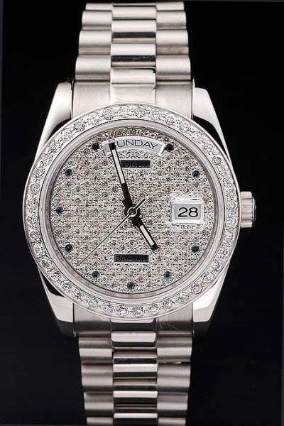Rolex Daydate SS Bracelet Week/Date Window Black Crystal Scale Womens Paved Diamonds Swiss Watch