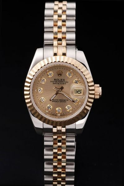 Imitated Swiss Rolex Datejust 31mm Fluted Bezel Gold Dial Diamonds Scale Two-tone Stainless Steel Bracelet Watch