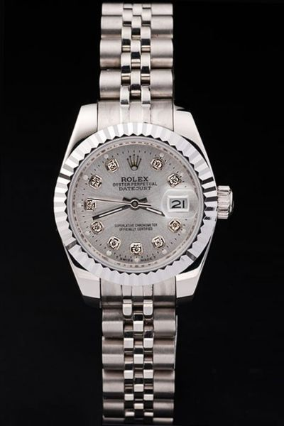 Swiss Fashion Rolex Datejust Silvery case Diamonds Markers Women 26mm Watch Ref.179179