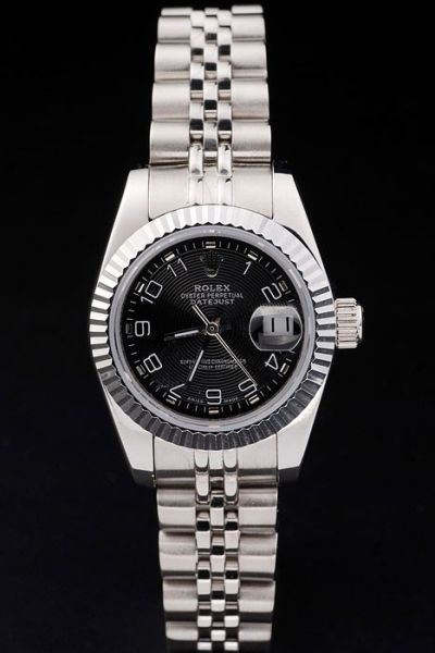Rolex Swiss Datejust Silver Fluted Bezel Black Concentric Circles Design Dial Arabic Markers Stainless Steel Bracelet Watch