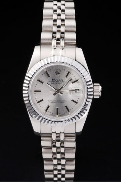 Swiss Rolex Lady Datejust Silvery SS Bracelet Stick Index Casual Stylish Watch