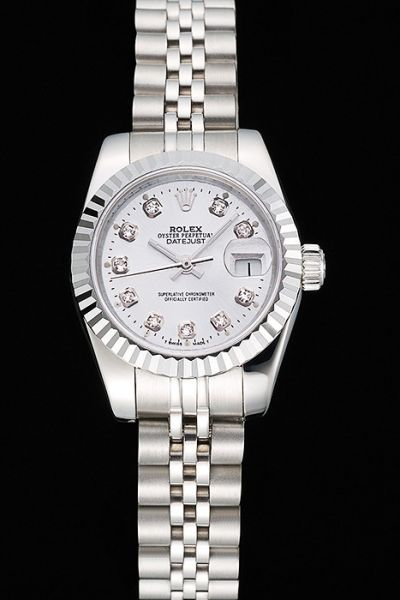 Cheap Swiss Rolex Datejust Stainless Steel Case & Bracelet Diamonds Bezel Womens White Dial Date Watch Online