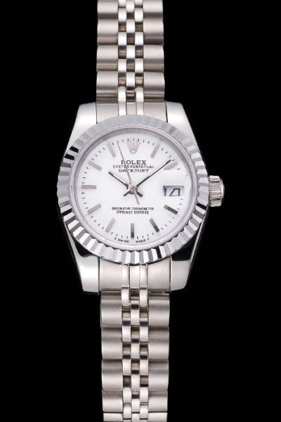High Quality Rolex Convex Lens Date Window White Dial Fluted Bezel Females SS Swiss Watch Replica