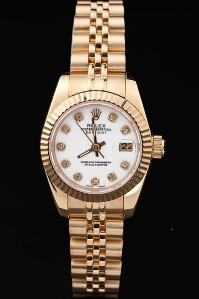 Classic Women's Rolex Datejust Oyster Perpetual White Face Diamonds Marker All Yellow Gold Date Watch 26MM