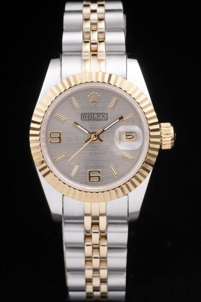 Vintage Rolex Datejust Gold-tone Crown Grey Wave Dial  Girls Dress Watch