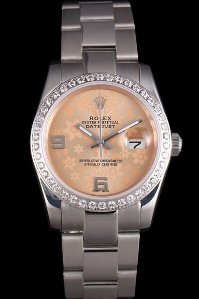 Rolex Datejust Orange Dial SS Bracelet Arabic Marker Fashion Floral Motif  Diamonds Watch For Mens/Womens Replica