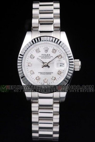 Replica Rolex Datejust 26mm All Silver Diamond Scale Female Price-friendly Watch Ref.179179SDP