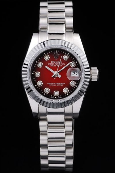 Good Reviews Rolex Datejust Red Dial Diamonds Markers Silver Stainless Steel Fluted Bezel Unisex Watch Ref.79173
