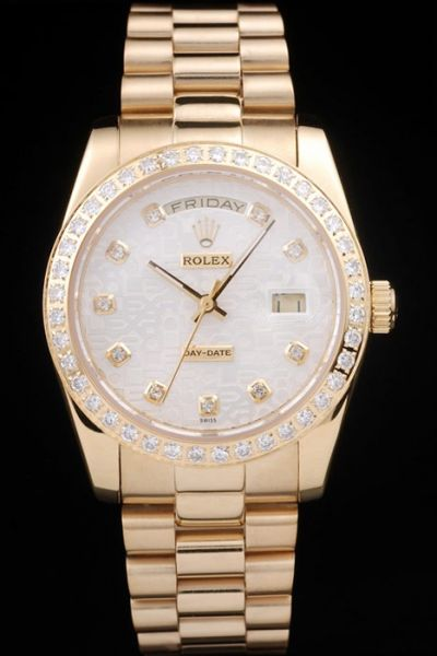 2019 Rolex Day-date Diamonds Bezel&Scale Gold Pointer 18K Yellow Gold SS Copy Watch