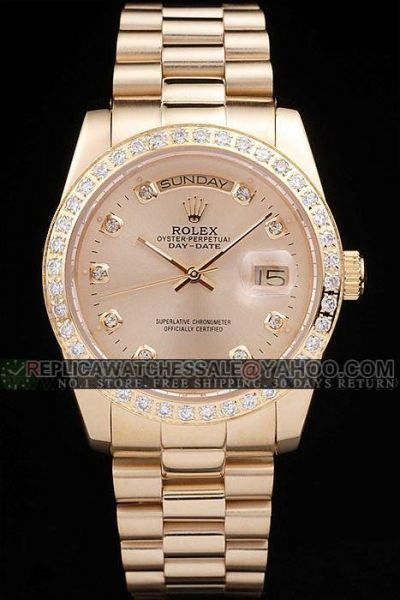 Latest Rolex Day-date Diamonds Bezel/Scale Week Display Window 36mm Females Yellow Gold Date Watch