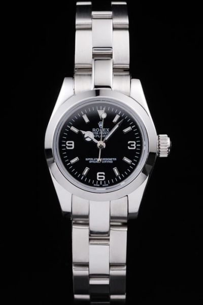 Good Reviews Rolex Explorer Black Dial Smooth Bezel 36MM Womens Stainless Steel Automatic Watch Replica  Ref.114270