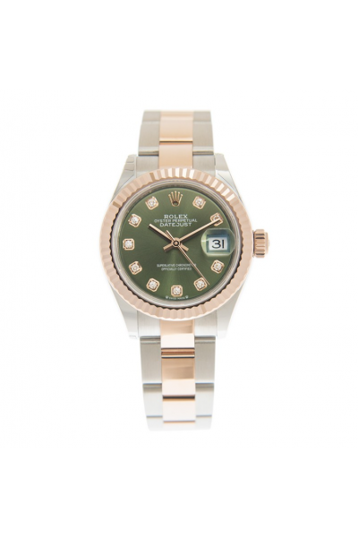 High End Rolex Datejust 28MM Rose Gold Fluted Bezel Diamonds Index Olive Green Face Female Two-tone Watch 279171