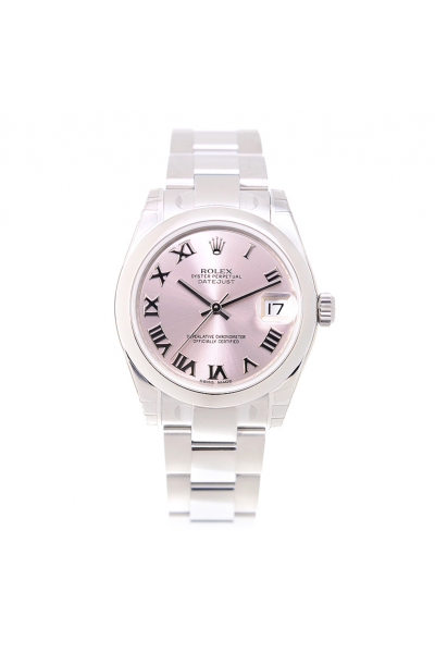 Rolex Simple Style Datejust 31MM Pink Dial Roman Index Women Stainless Steel Smooth Bezel Date Watch