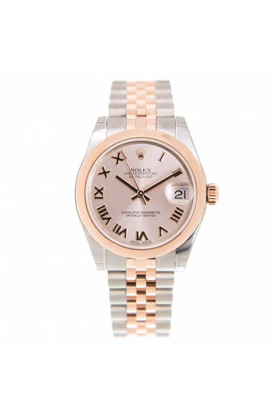 Rose Sweet Design Datejust 31 Pink Face Roman Markers Jubilee Bracelet Two-tone Watch For Ladies
