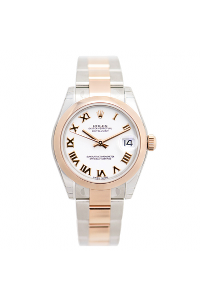 Low Price Rolex Datejust 31 Rose Gold Roman Markers Smooth Bezel Women White Face Two-tone Oyster Bracelet Watch
