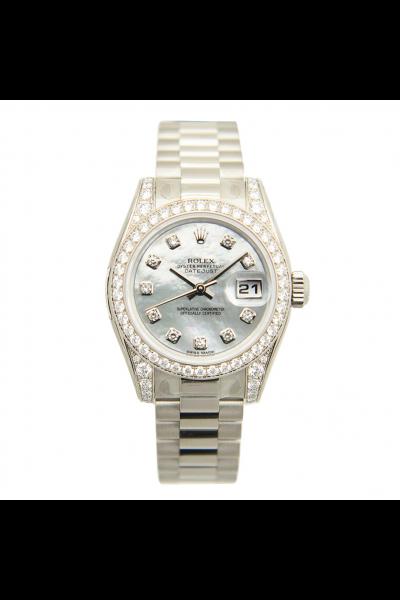 Replica Best Price Rolex Datejust 26 Silver MOP Diamonds Index & Bezel Female White Gold Automatic Watch