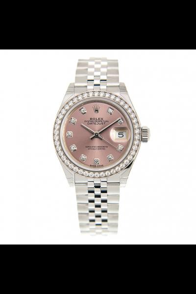 Cheapest Rolex Datejust 28MM Pink Face Diamonds Index & Bezel Jubilee Bracelet Ladies SS Date Watch