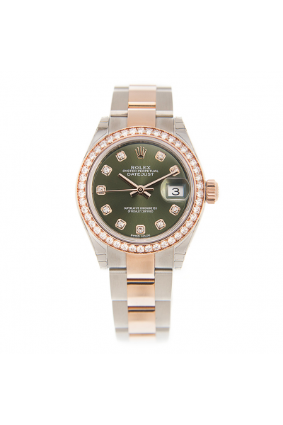 Rolex Low Price Datejust 28 Olive Green Dial Diamonds Markers & Bezel Oyster Bracelet Two-tone Lady Watch Rose Gold