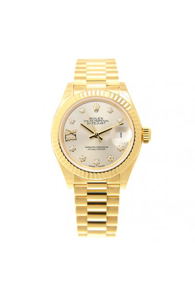 Low Price Rolex Datejust 28MM Silver Dial Star Diamonds Markers Ladies Fluted Bezel Yellow Gold Date Watch