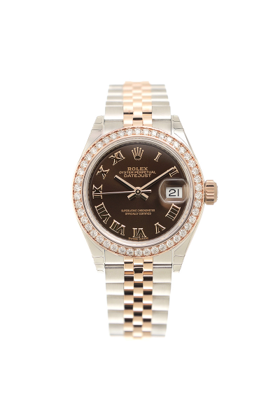 High End Rolex Datejust 28 Brown Dial Roman Index Two-tone Jubilee Bracelet Female Diamonds Watch For Sale