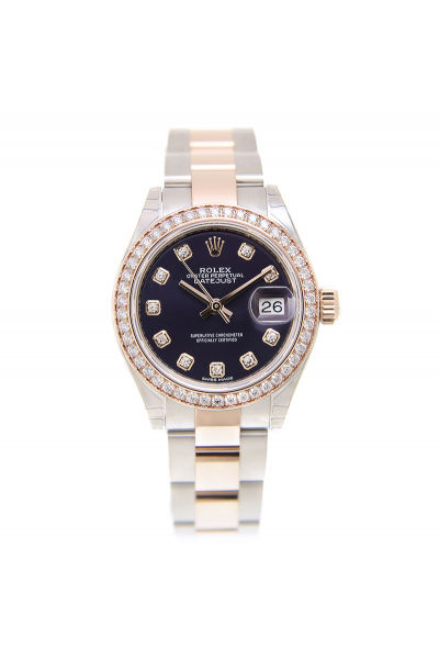 Hot Selling Rolex Datejust 28 Rose Gold & SS Oyster Bracelet Diamonds Markers/Bezel Eggplant Dial Watch Replica
