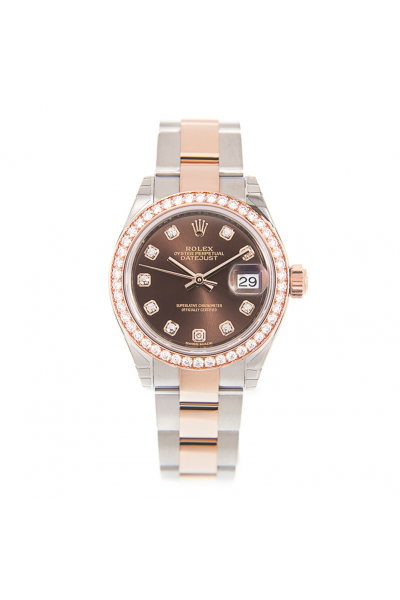 Hot Selling Rolex Datejust 28 Two-tone Bracelet Diamonds Index & Bezel Women Brown Face Oyster Watch Rose Gold