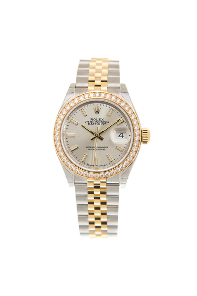 Best Rolex Datejust 28MM Silver Face Diamonds Bezel Simple Stick Markers Two-tone Yellow Gold Luminous Watch 279383RBR