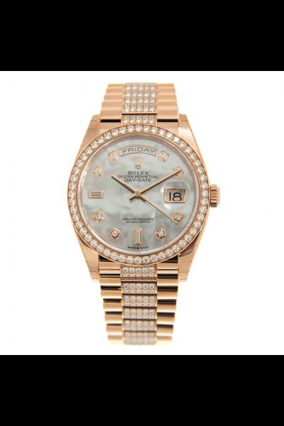 Rolex Day-date 36MM White MOP Dial Diamonds Set Markers/Bezel/President Bracelet Women Rose Gold Watch 128345RBR