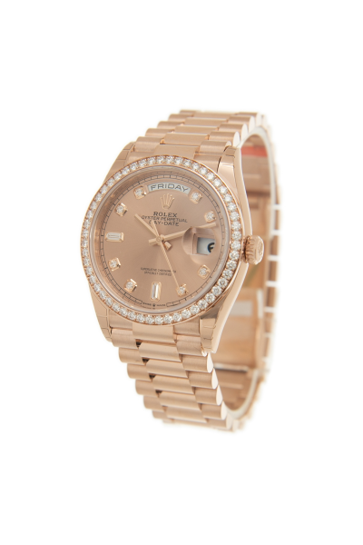 Hot Selling Rolex Day-date 36MM Case Date Window Diamonds Bezel & Index Female 18 CT Everose Gold Automatic Watch 128345RBR