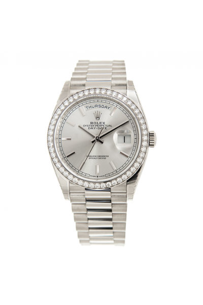 Rolex Simple Style Dayu-date 36MM Diamonds Bezel Silver Dial Stick Index Women Stainless Steel Faux Watch 128349RBR